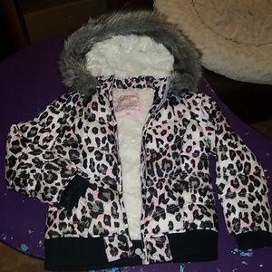 Justice Girls Leopard Faux Fur Lined Jacket 6 7